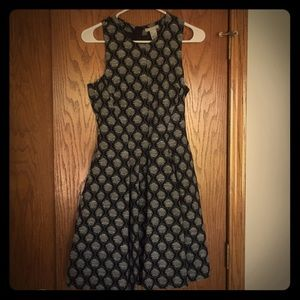 H&M Black and Grey Midi Dress Size 6